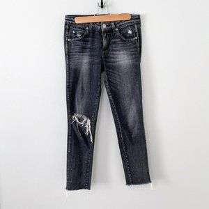 AMO Denim Black Stix Skinny Jeans Vixen Destroyed